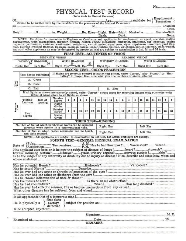 Yosemite Valley Railroad Details - Employee Application